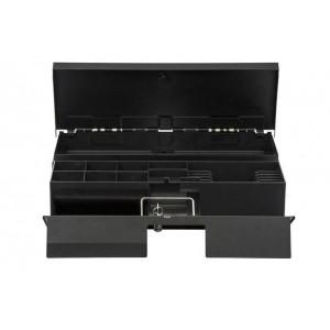 Денежный ящик АТОЛ FlipTop-МB черный, 460*170*100, 24V, верхняя крышка из нержавеющей стали + крышка для инкассации